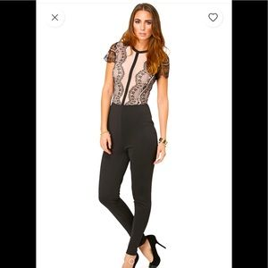 Missguided Lace Nude Jumpsuit NWT 6